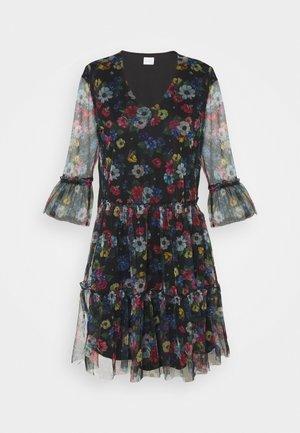 VIVERANDA PRINT V NECK 3/4 DRESS - Day dress - black/multi