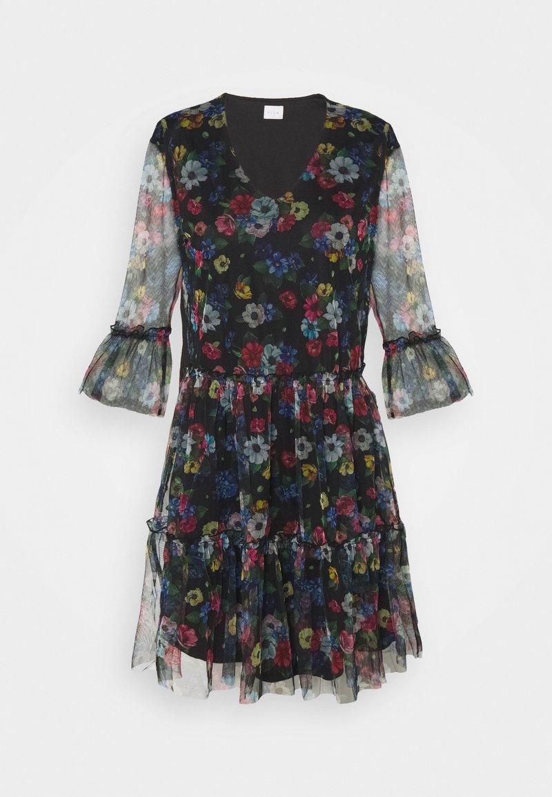 Vila - VIVERANDA PRINT V NECK 3/4 DRESS - Day dress - black/multi