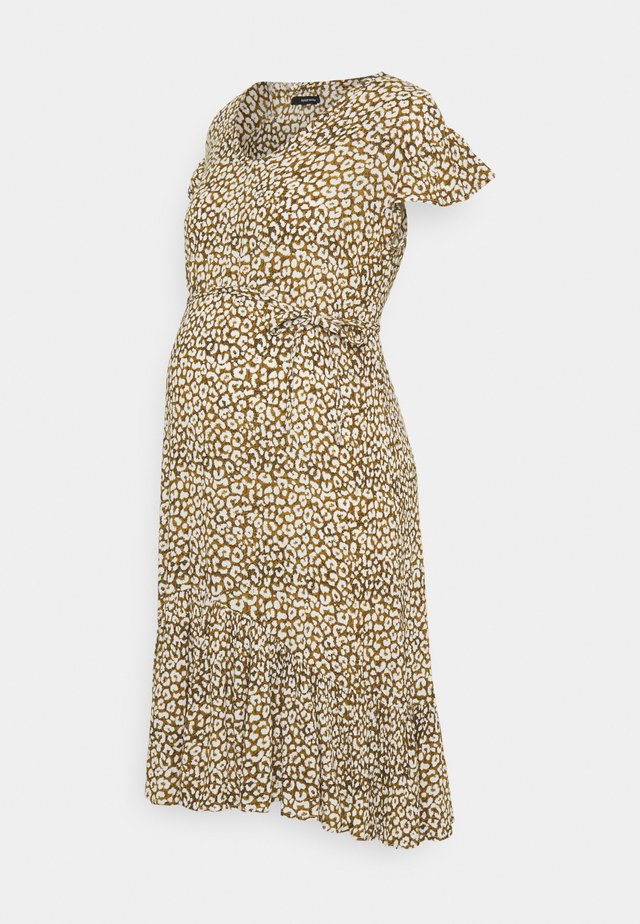 DRESS LEOPARD - Korte jurk - dull gold