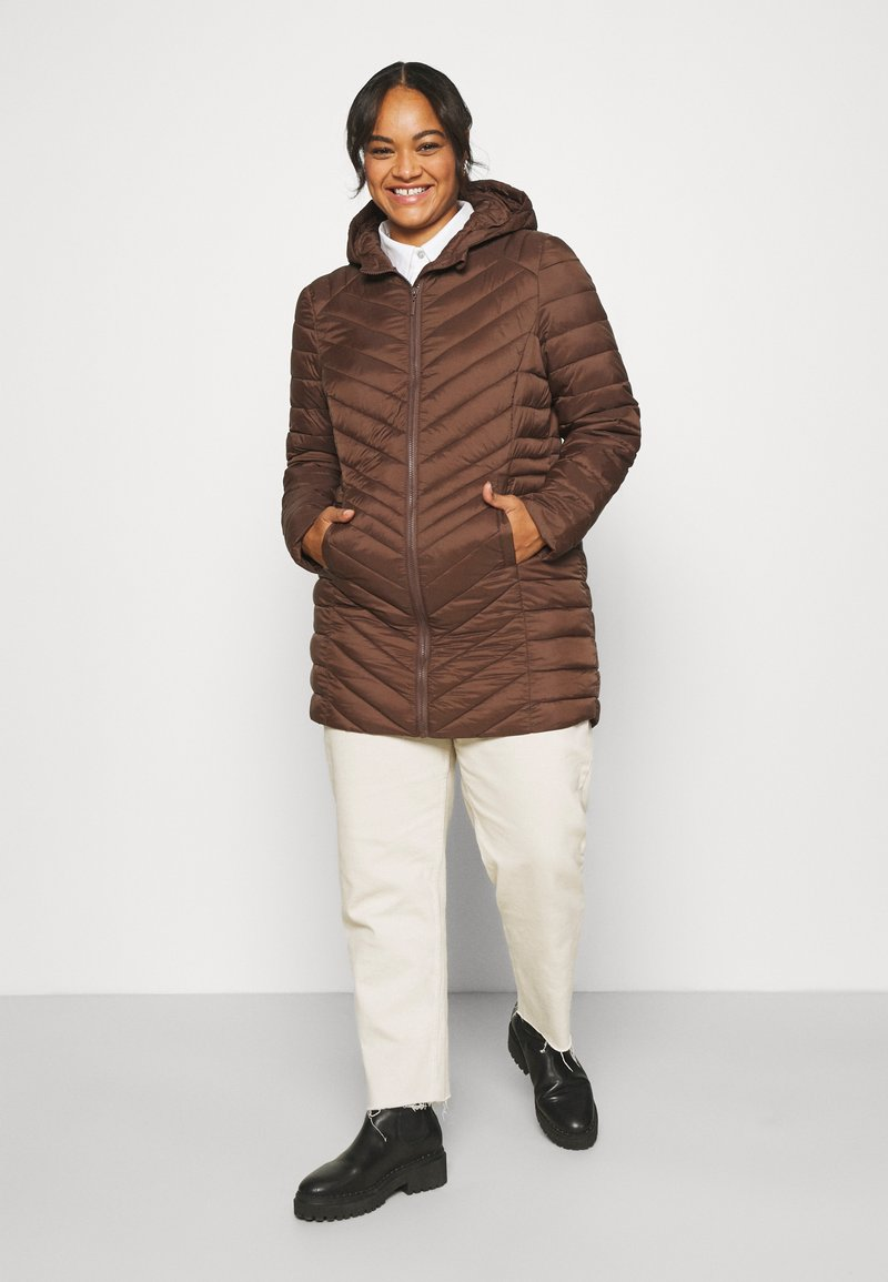CAPSULE by Simply Be - LIGHTWEIGHT PADDED MID JACKET - Short coat - chocolate