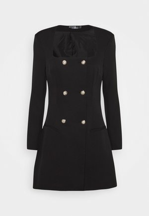 SQUARE NECK MILITARY TAILORED DRESS - Skjortekjole - black