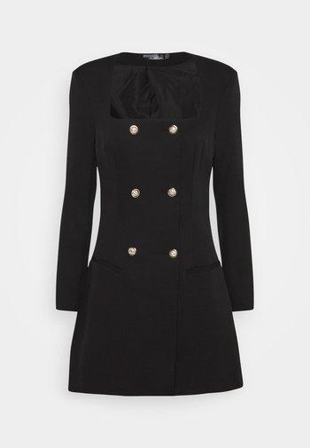 SQUARE NECK MILITARY TAILORED DRESS - Shirt dress - black