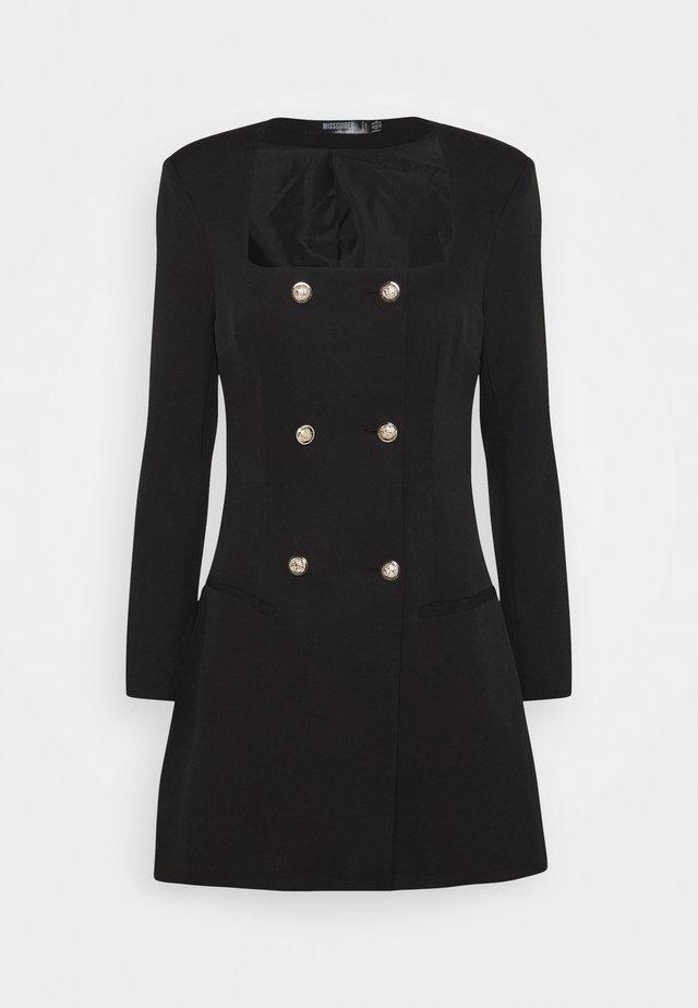 SQUARE NECK MILITARY TAILORED DRESS - Blousejurk - black