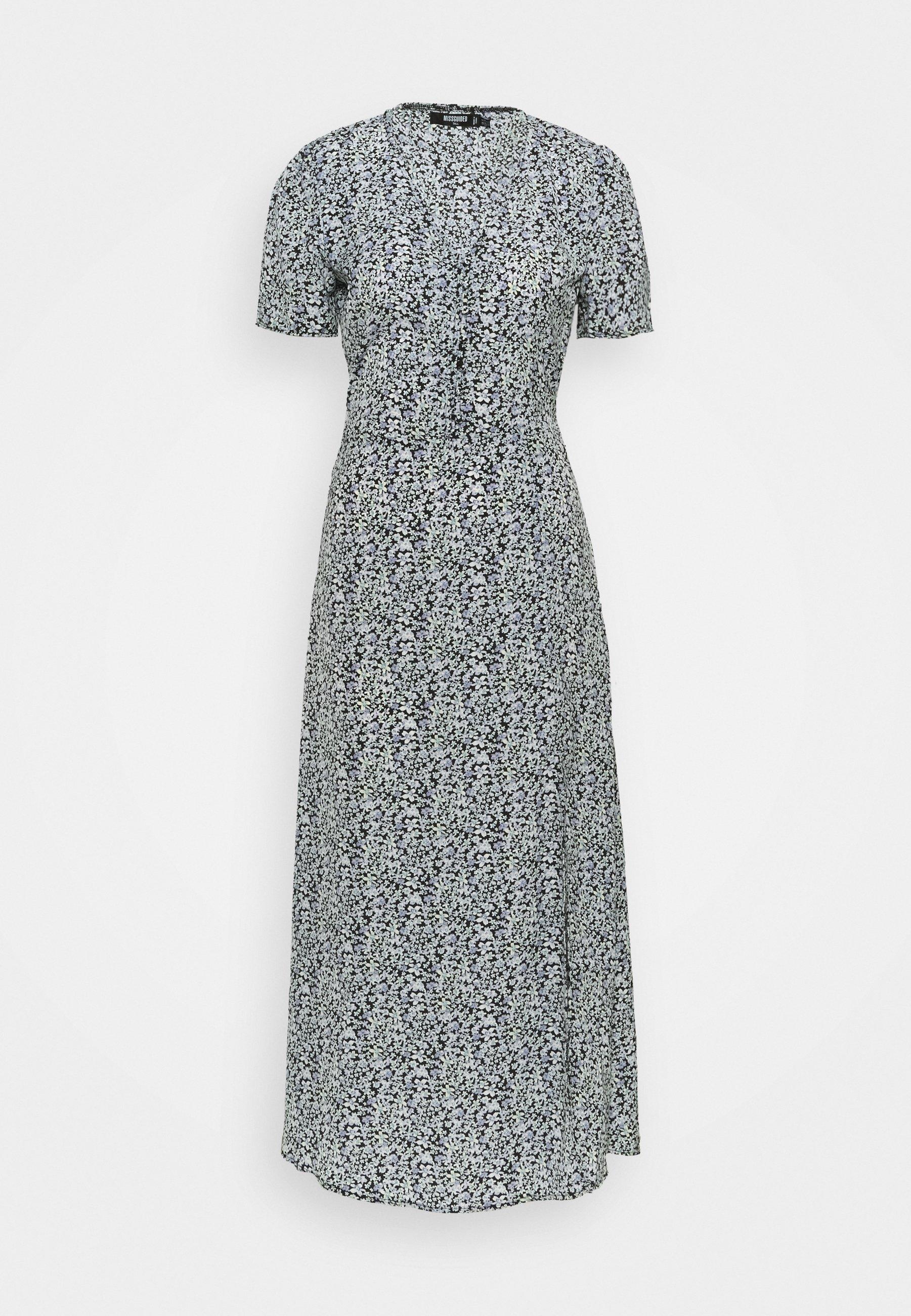 Women HALF BUTTON MIDI DRESS FLORAL - Maxi dress