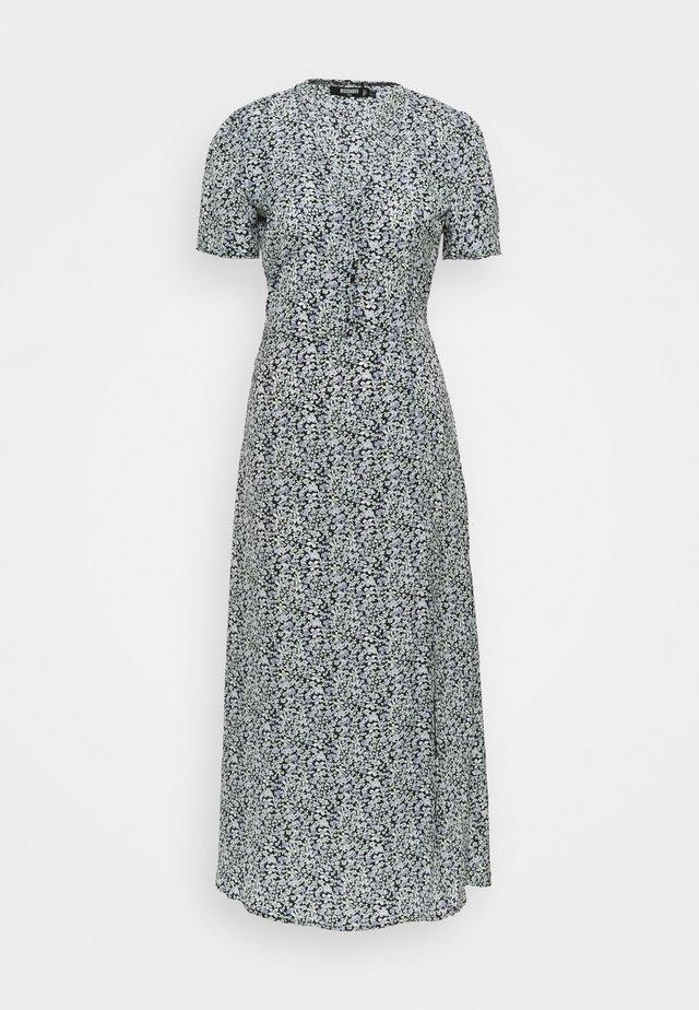 HALF BUTTON MIDI DRESS FLORAL - Długa sukienka - blue
