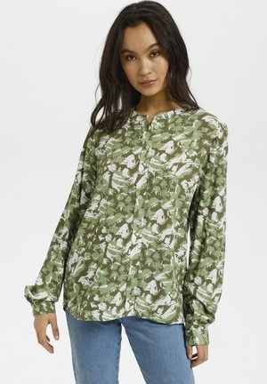 Button-down blouse - green graphic camou