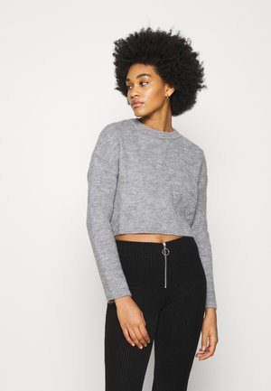 ROUND NECK CABLE SWEATER - Sweter - grey