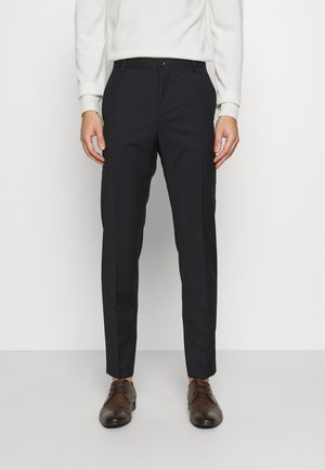 TONAL GRID CHECK EXTRAFINE PANT - Trousers - navy
