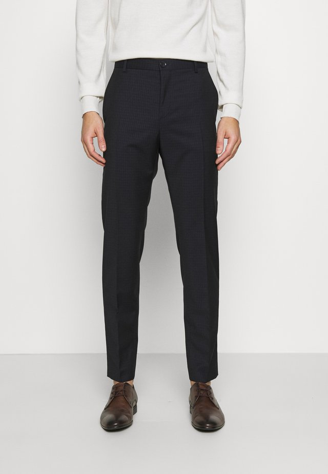TONAL GRID CHECK EXTRAFINE PANT - Pantalon classique - navy