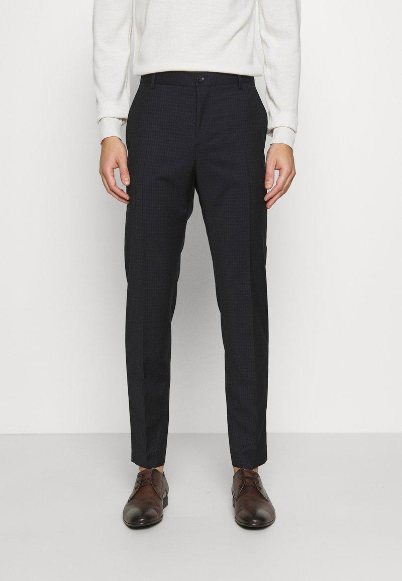 Calvin Klein Tailored - TONAL GRID CHECK EXTRAFINE PANT - Kalhoty - navy