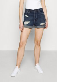 Hollister Co. - MOM CURVY DARK DEST  - Denim shorts - dark destroy - 0