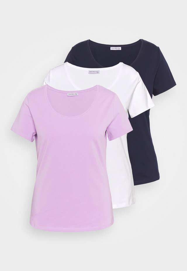 3er PACK  - T-shirt basic - white_lilac_blue