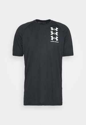 TRIPLE LOGO TECH - Camiseta estampada - black