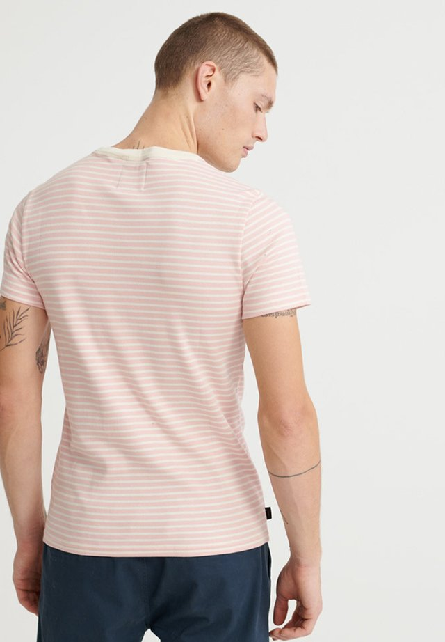 Print T-shirt - cream pink stripe