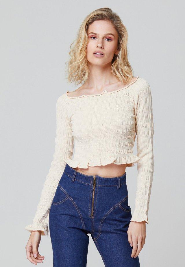 OLIVIA SHIRRED - Långärmad tröja - beige