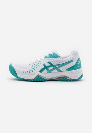 GEL CHALLENGER 12 CLAY - Clay court tennissko - white/techno cyan