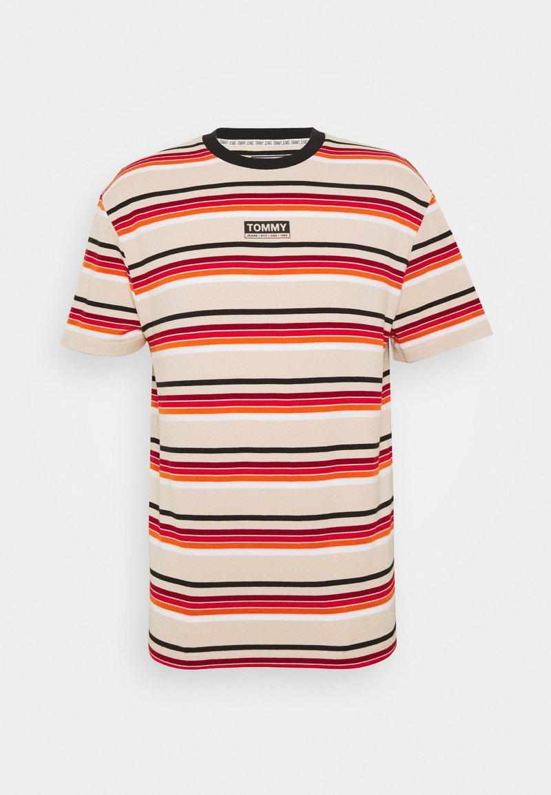 Tommy Jeans - DYE STRIPE TEE - Print T-shirt - smooth stone/multi