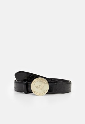 LOGO CROCO TONGUE BELT - Pásek - nero/black