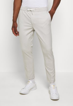 CHECK JOGGER - Trousers - white