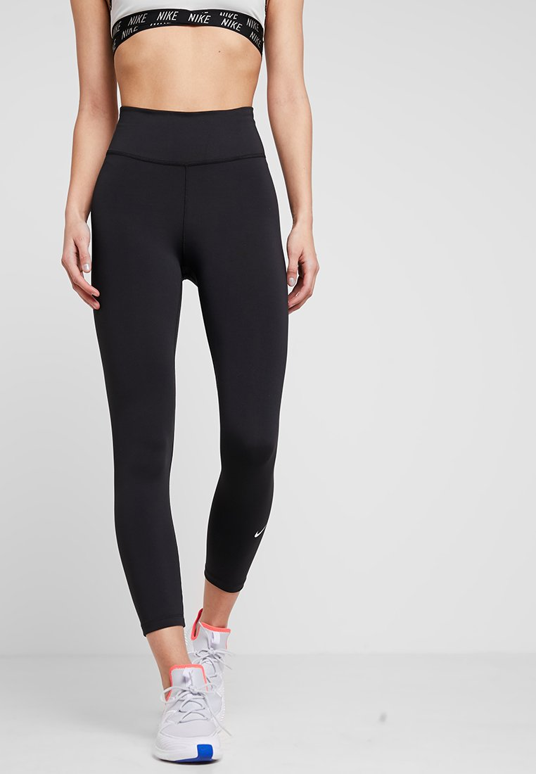 Nike Performance - ONE CROP - Legginsy - black/white