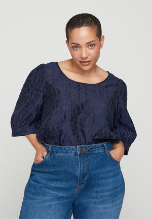 TONE-IN-TONE MUSTER - Blouse - blue