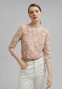 Esprit Collection - LACE SHIRT - Print T-shirt - nude - 0