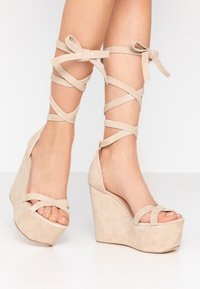 Even&Odd - LEATHER - High heeled sandals - sand - 0