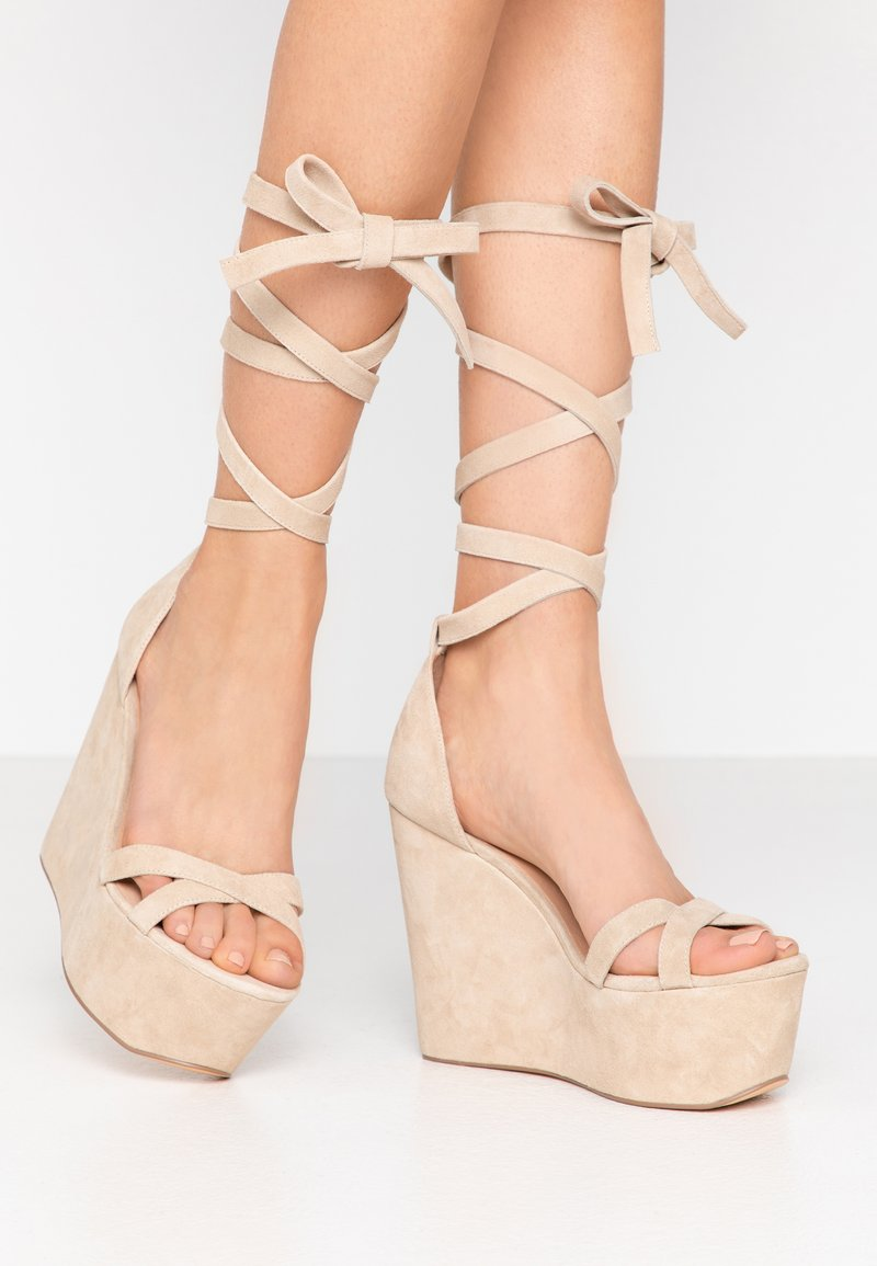 Even&Odd - LEATHER - High heeled sandals - sand