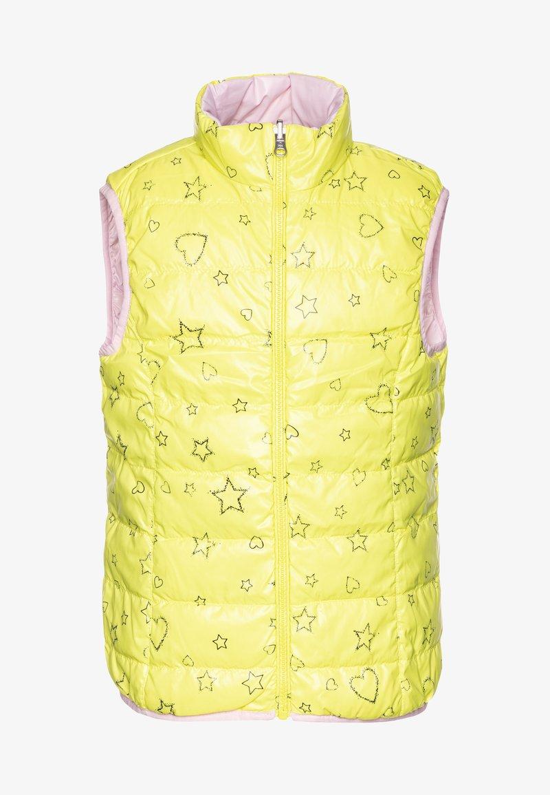 Benetton - WAISTCOAT - Kamizelka - yellow/lihgt pink