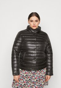 Missguided Plus - LIGHTWEIGHT RIBBED PUFFER JACKET - Light jacket - black - 0