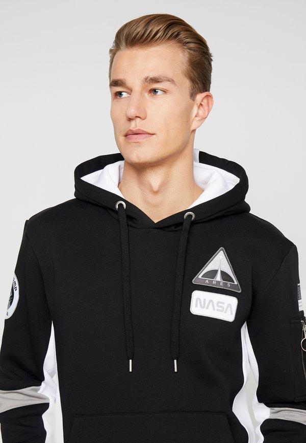 Alpha Industries SPACE CAMP HOODY - Bluza z kapturem - black/czarny Odzież Męska LXOB