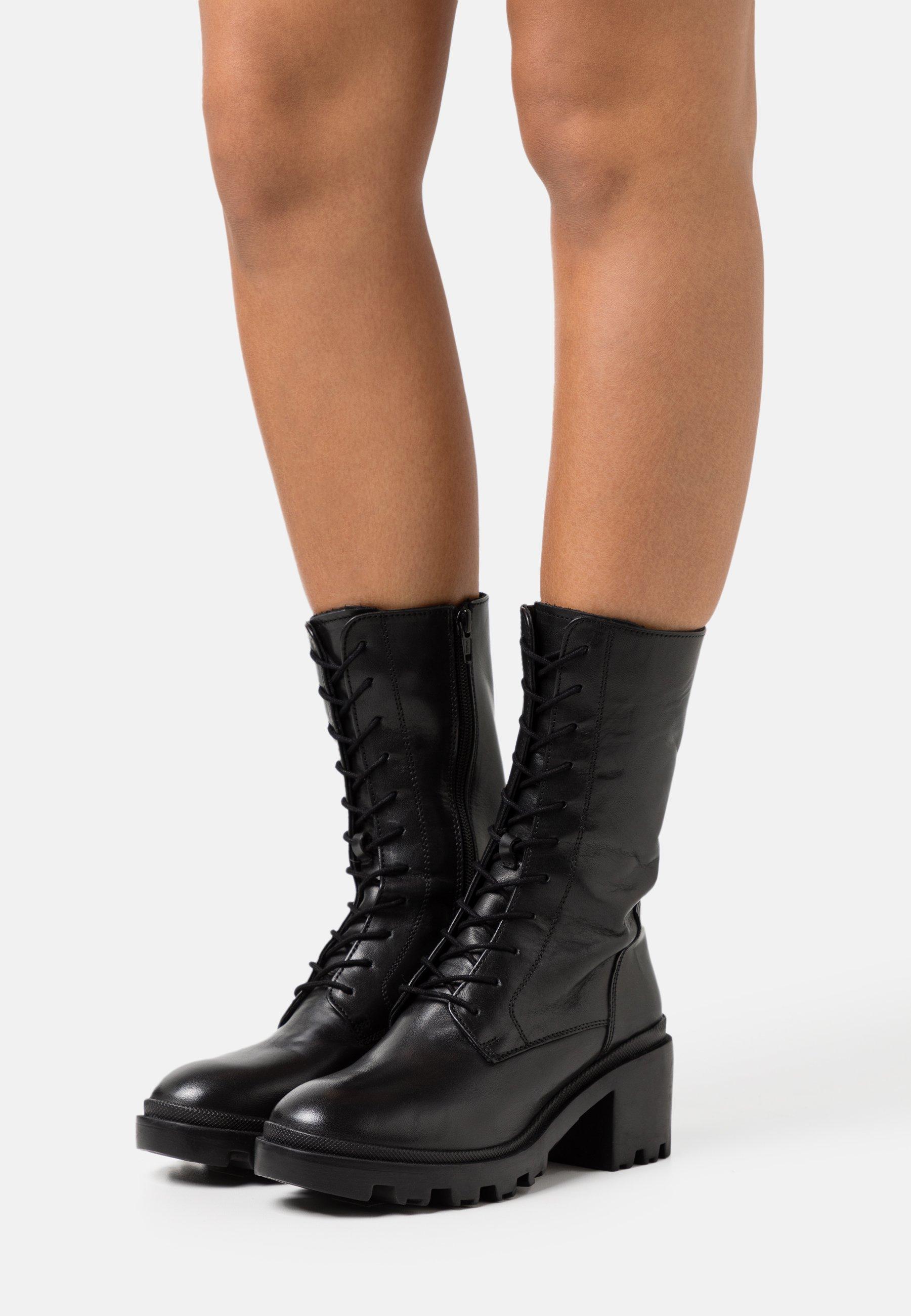 Femme Bottes à lacets - black