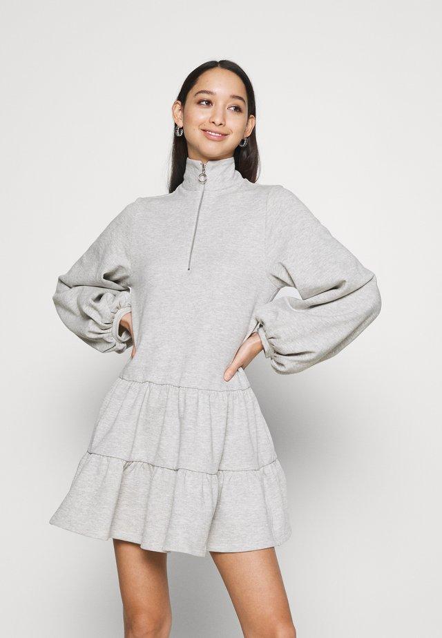 ZIP UP TIER MINI - Day dress - grey marl