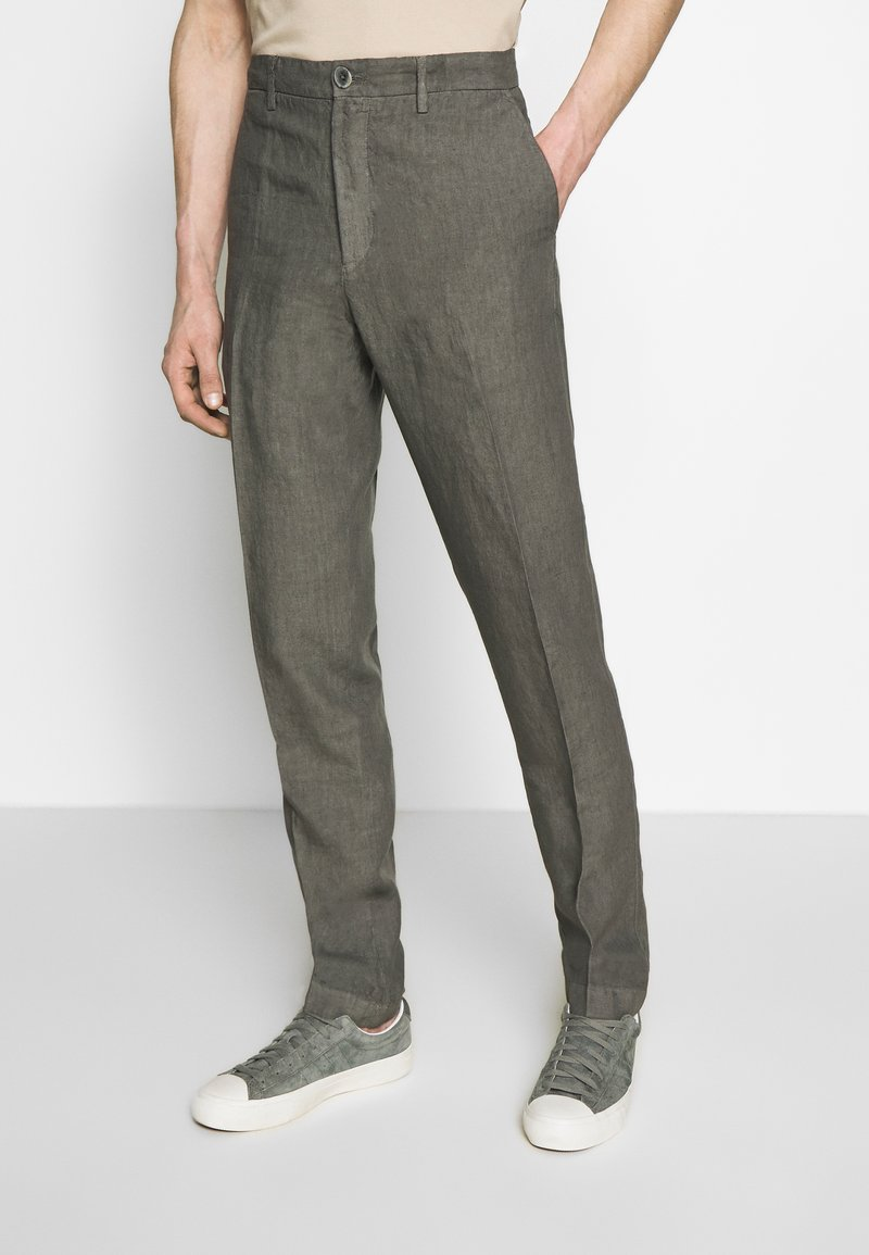 120% Lino - TAILORED TROUSERS - Trousers - anthracite