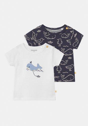 2 PACK - Print T-shirt - off-white/dark blue