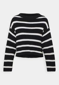 Stickad tröja - black/white