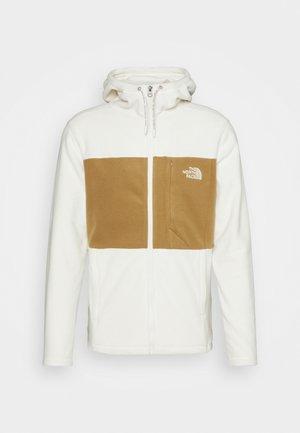 BLOCKED HOODIE - Fleece jacket - offwhite/brown