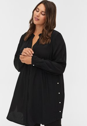 WITH PEARLS - Button-down blouse - black