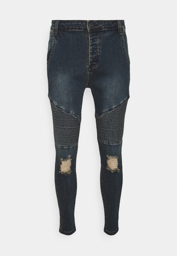 DISTRESSED BIKER - Jeans Skinny Fit - indigo