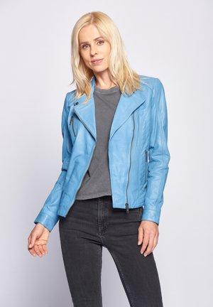 SALLY - Leather jacket - light blue