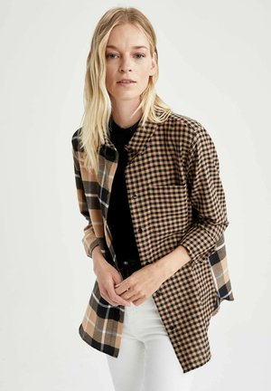 REGULAR FIT - Button-down blouse - brown