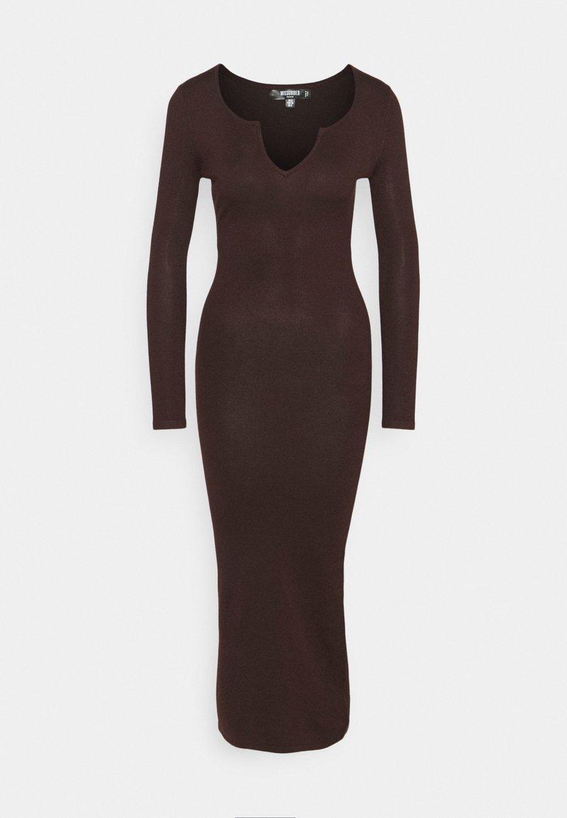Missguided Petite - NOTCH NECK MIDAXI DRESS - Maxi dress - brown
