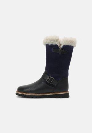 LEATHER - Winter boots - dark blue