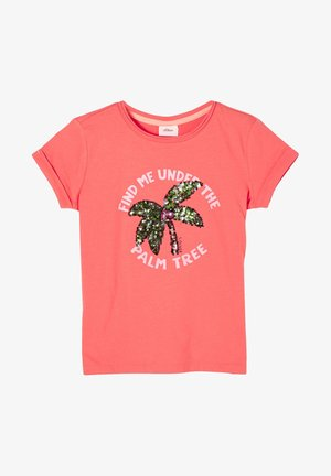 MIT PAILLETTEN - Print T-shirt - coral