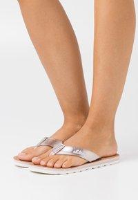 s.Oliver - SLIDES - T-bar sandals - rose gold metallic - 0