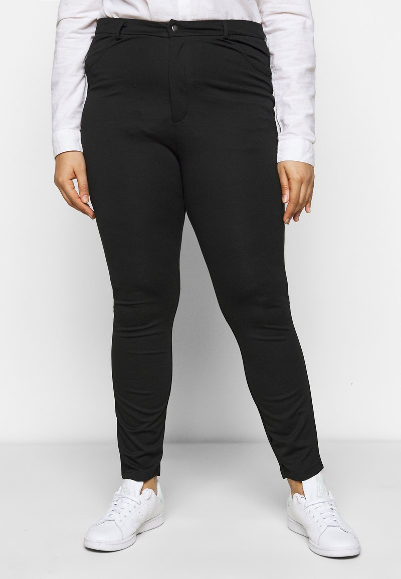 Even&Odd Curvy - HIGH WAIST 5 pockets PUNTO trousers - Leggings - black