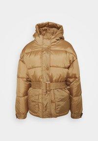 SELF BELTED PUFFER - Winter jacket - camel
