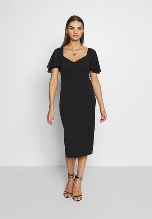 FLUTTER CAP SLEEVE MIDI DRESS - Cocktailkjole - black