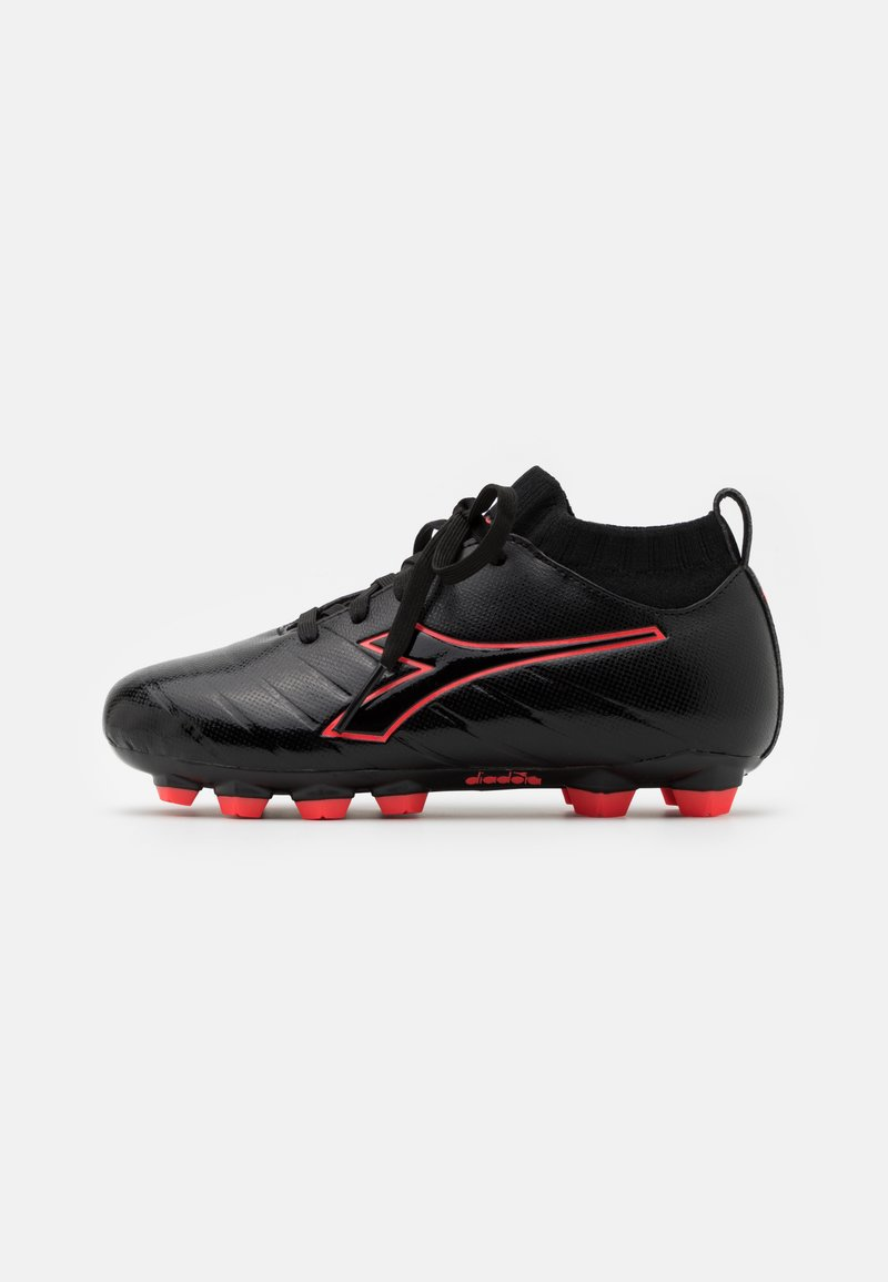 Diadora - BRASIL ELITE R LPU JR UNISEX - Moulded stud football boots - black/red fluo