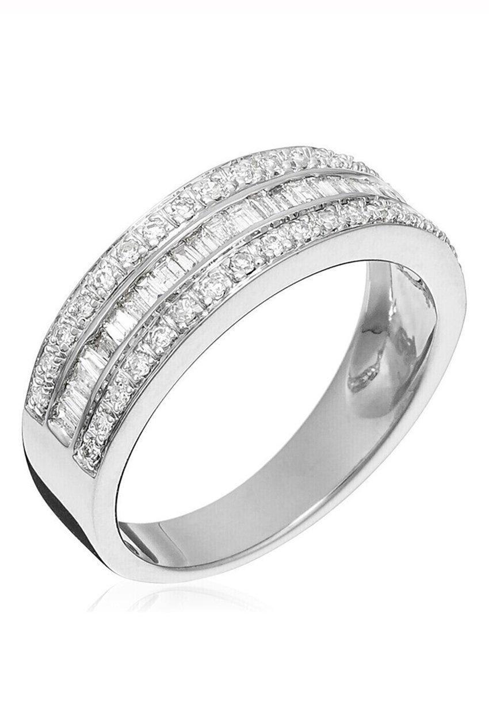 Damen WHITE GOLD RING 9K CERTIFIED 62 DIAMONDS HSI 0.5 CT - Ring